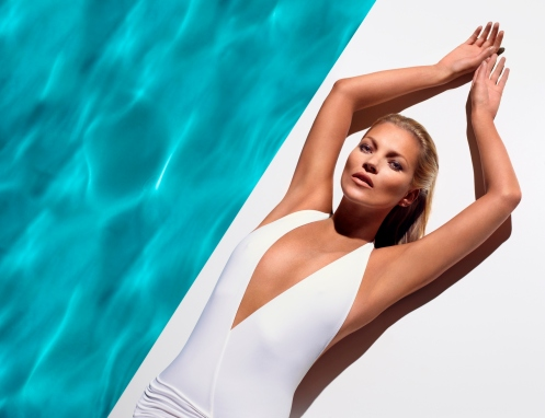 white swim suit lying down low